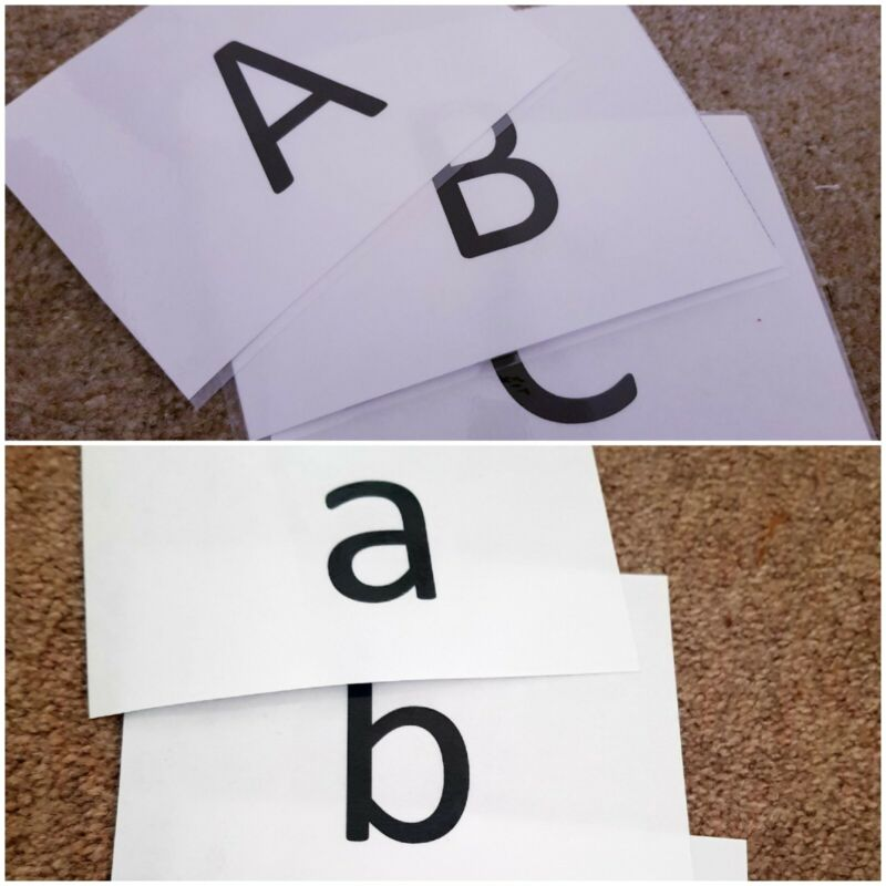 Large+Alphabet+Flashcards+Laminated+CAPITALS+%26Lowercase+Perschool+Early+Learning