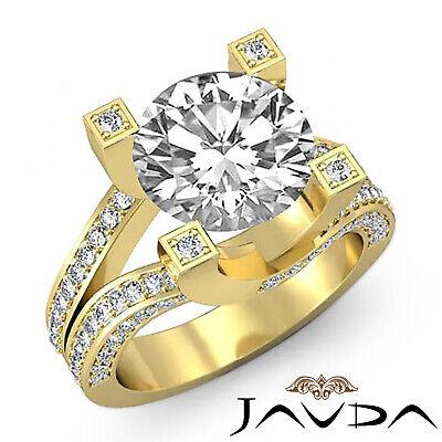 Trellis Style Split Shank Round Cut Diamond Engagement Pave Ring GIA I VS2 2.5Ct 6