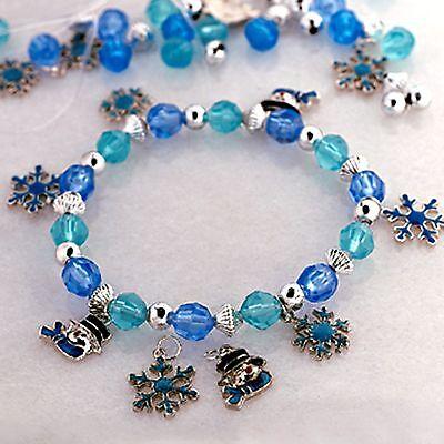 24 KITS - Blue Snowman Snowflake CHARMS Bracelet Craft Christmas Party Favor Charms Craft Kits