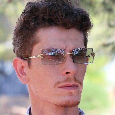 Retro Buffs Gold Frame Square Rimless Rectangular Green Tint Sunglasses For (Gold Frame Shades)