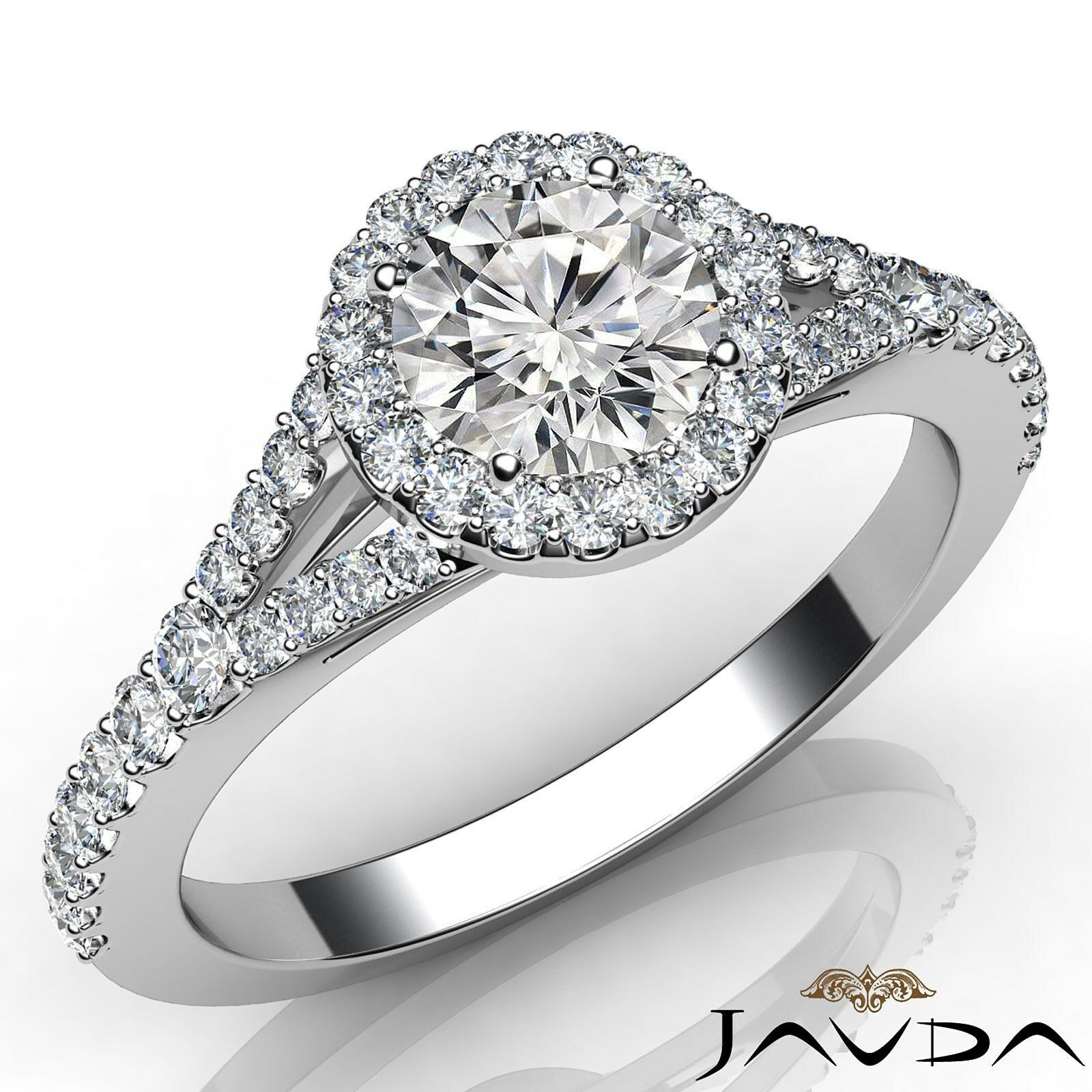 French U Pave Halo Round Shape Diamond Engagement Split Shank Ring GIA E SI1 1Ct