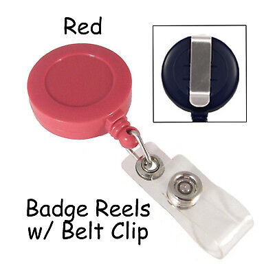 50 Id Badge Reels Lanyards - Red - Retractable With Belt Clip Plastic Strap