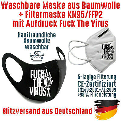 Fashion Mask Baumwolle waschbar plus FFP2 KN95 Mundschutz Maske Fuck The Virus