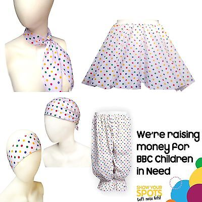 Adult or Childs CHILDREN IN NEED Costume Polka Dot Pudsey SKIRT Accessories