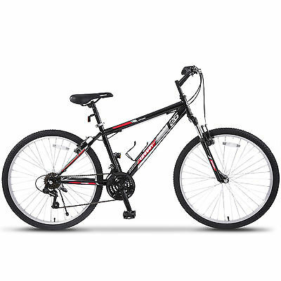 "26"" Mountain Bike 18 Speed Bicycle Shimano Hybrid Black Red College School Sport"