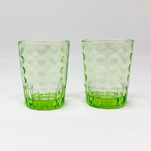 Pair of Vintage Vaseline Dimpled Shot Glasses