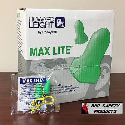 Howard Leight Max Lite Corded Foam Disposable Ear Plugs Lpf-30 Green 100 Pair