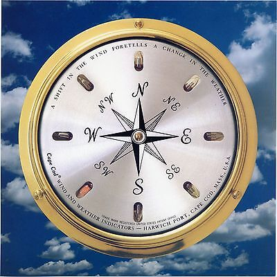 Wind Direction Instrument: Solid Brass Case, Cape Cod Wind & - Outdoor Metal Weather Clock