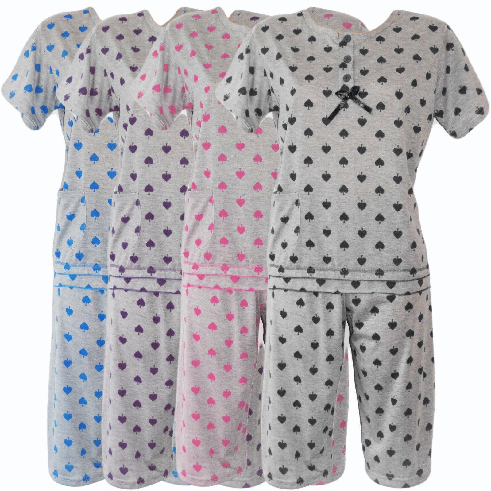 Damen Pyjama Set Capri Hose +T-Shirt Schlafanzug Nachtwäsche Grau 36-46