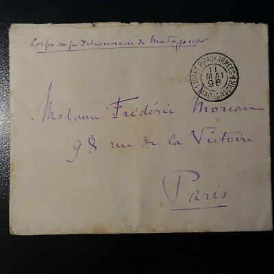 MADAGASCAR BRIEF COVER CORPS EXPÉDITIONNAIRE 1896 POST DIE