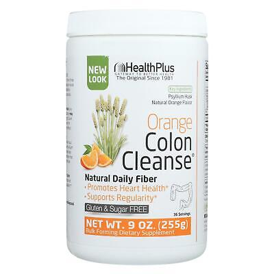 Health Plus ORANGE COLON CLEANSE Powder 9 oz, 36 Serves for REGULARITY, HEART Health Plus Cleanse Heart