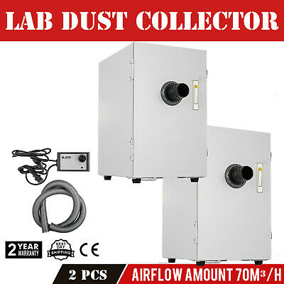 2x Single-row Dust Collector Vacuum Cleaner 370w Dental Lab Suction Extraction