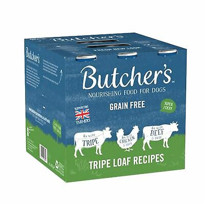 Butchers Tripe Loaf Recipes Wet Dog Food Cans 18 x 400g Chicken Beef Grain Free