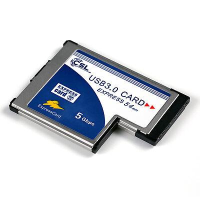 Express Notebook (PCMCIA Express Card Karte 54mm 2 Port USB3.0 Win7 kompatibel für Notebook Laptop)