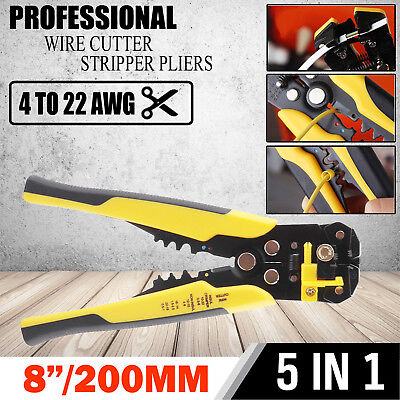 Self Wire Cable Stripper Cutter Stripping Tool Terminal Plier Adjust Strength