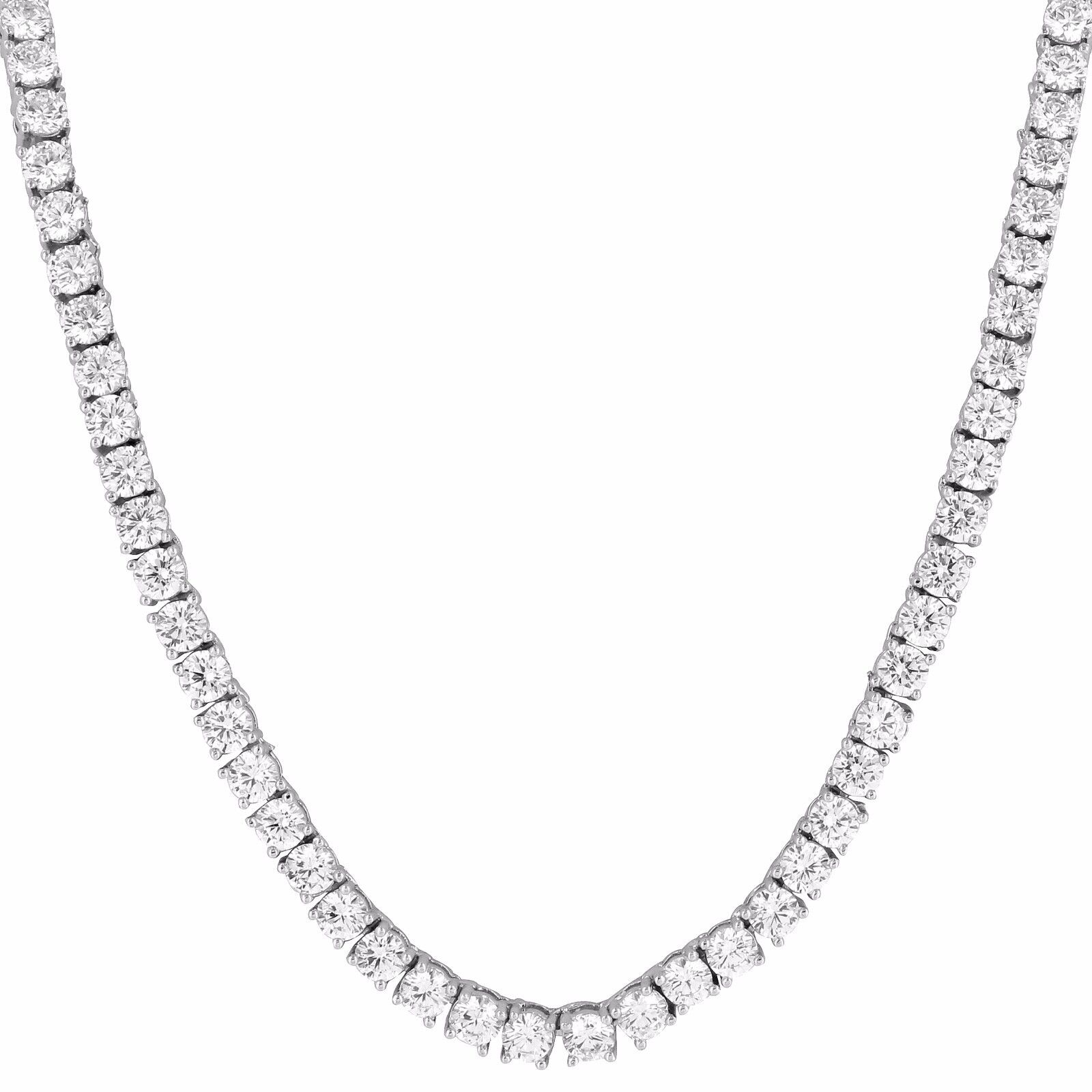 Mens Tennis Necklace 20 Inch 3mm Chain 1 Row Solitaire Lab