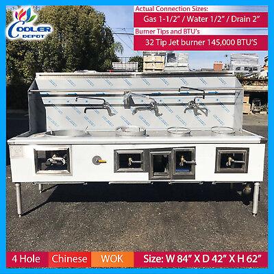 4 Hole Wok Range Chinese Cuisine Commercial Restaurant Nsf Cooler Depot New