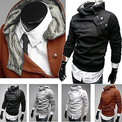 US Seller Hot designer Mens Casual Slim Fit Fur-lined Hoodie PK23