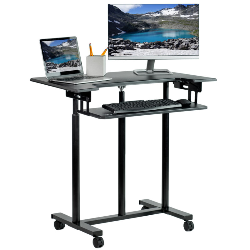 VIVO Mobile Height Adjustable Stand Up Desk Cart with Sliding Keyboard Tray