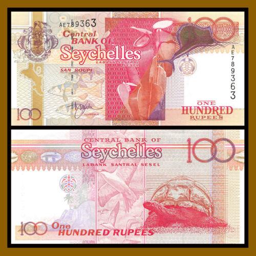 Seychelles 100 Rupees, ND 2001 P-40 Tropical fish swordfish Turtle Unc