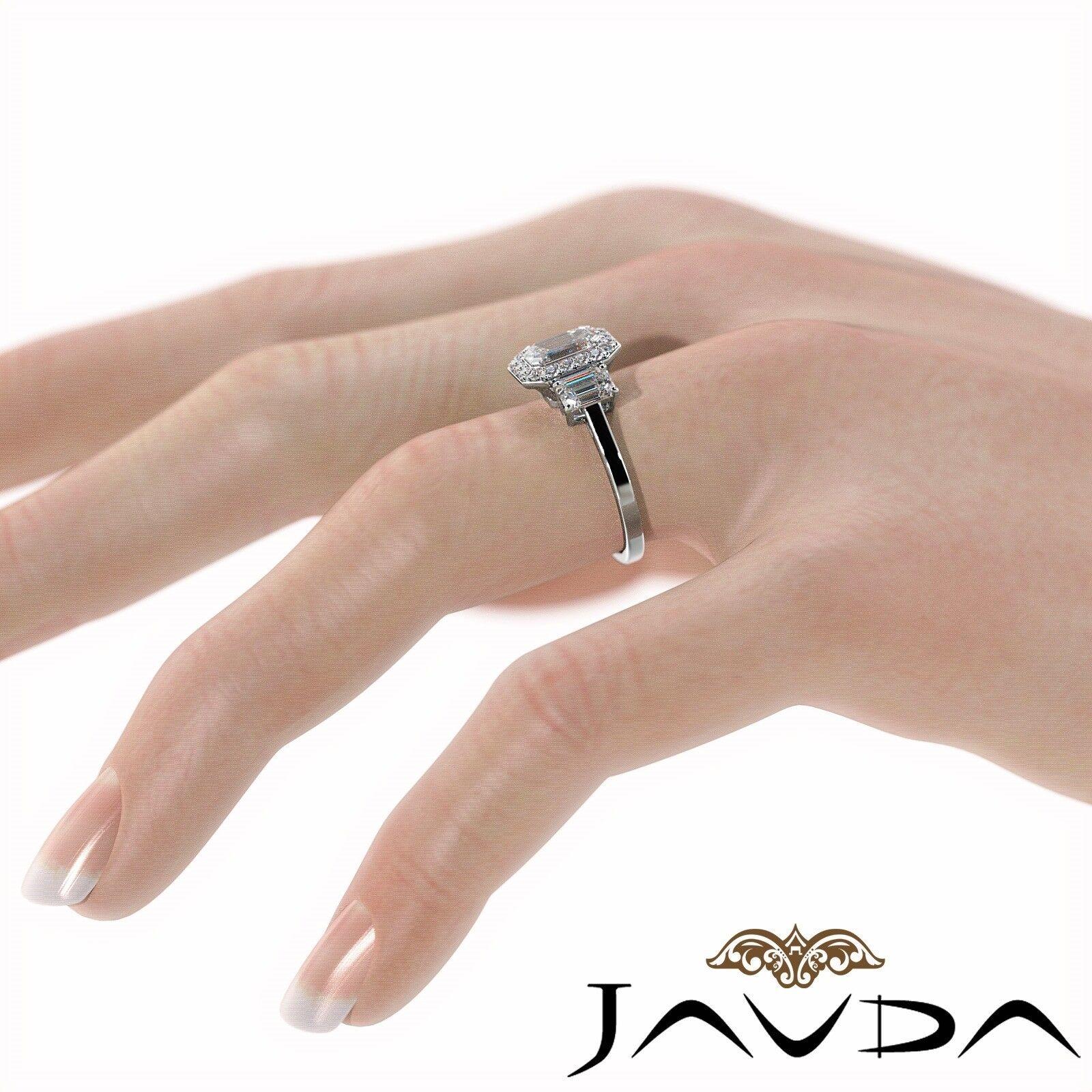 1.55ctw 3 Stone Halo Pave Emerald Diamond Engagement Ring GIA F-SI2 White Gold 4