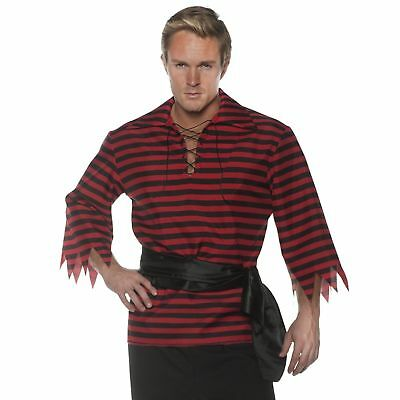 Striped Pirate Shirt Black & Red Adult Men's Plus Size Costume Accessory XXL