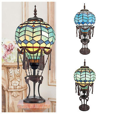 Unique Hot Air Balloon Illuminated Table Lamp Stained Glass Statue French Glass