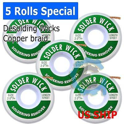 New 5-pack 5 Ft 2.0mm Desoldering Copper Braid Solder Remover Wick Usa Seller
