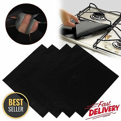 SET OF 4 Stovetop Gas Burner Protectors Fiberglass Stove Top Black Reusable NEW