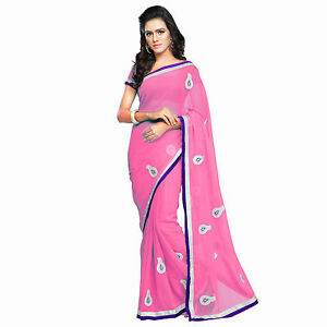 Indian Party Wear Designer Light Pink Faux Chiffon Embroidered Saree With Blouse available at Ebay for Rs.525