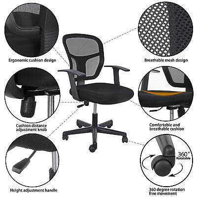 Mid-back Black Desk Office Chair With Armrests - Mesh Back Adjustable Swivels