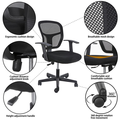 Black Ergonomic Executive Mesh Chair Swivel Mid Back Office Chair Computer Desk  3