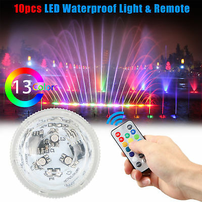10pcs Waterproof LED RGB Submersible Light Party Vase Lamp With Remote Control
