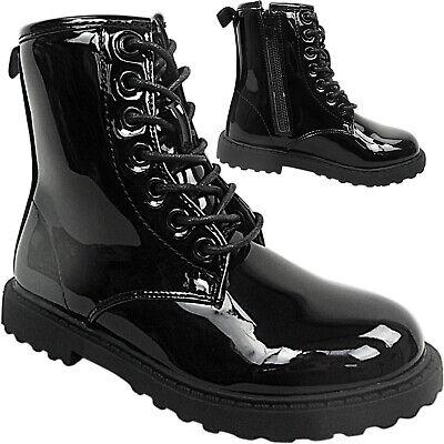 Mädchen Jungen Kinder Schnürer Doc DM Kampf Stiefeletten Schuhe Zip Armee Punk