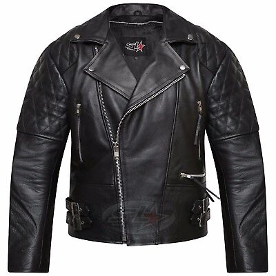Men's Real Leather Jacket Motorcycle Vintage Brando Biker Perfecto Jacket