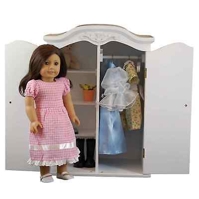 "White ARMOIRE Clothes Storage Trunk Furniture Fits 18 "" Inch American Girl Doll"