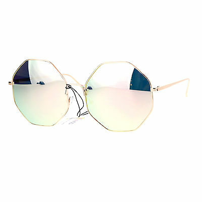 Octagon Mirrors (Womens Octagon Shape Sunglasses Metal Frame Pink Mirror Lens)