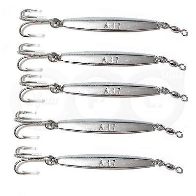 20pcs 2oz Fishing Diamond Jigs Silver Chrome Jigging Metal Lures treble hook New