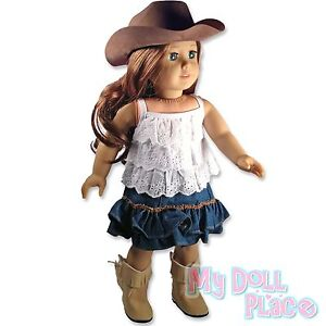 Doll clothes fit American Girl Saige *Western Cowgirl Set Top +Skirt +Hat +Boots