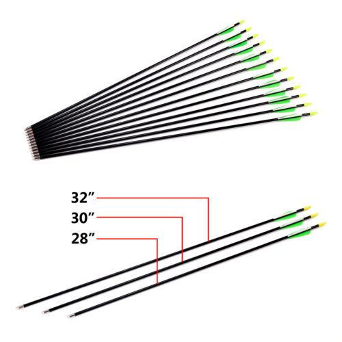 12 Frecce Freccia Fibra Vetro per Tiro con l'Arco Punta Arrotondata