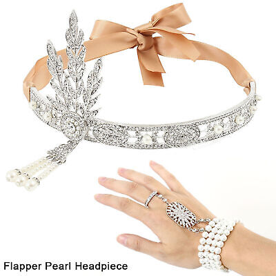 1920s Flapper Great Gatsby Headpiece Hair Accessories Headband Bracelet Ring Set](Flapper Headbands)
