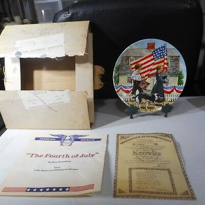 Knowles Americana Holidays Don Spaulding 1978 The Fourth of July Plate w/ COA - 4th Of July Plates