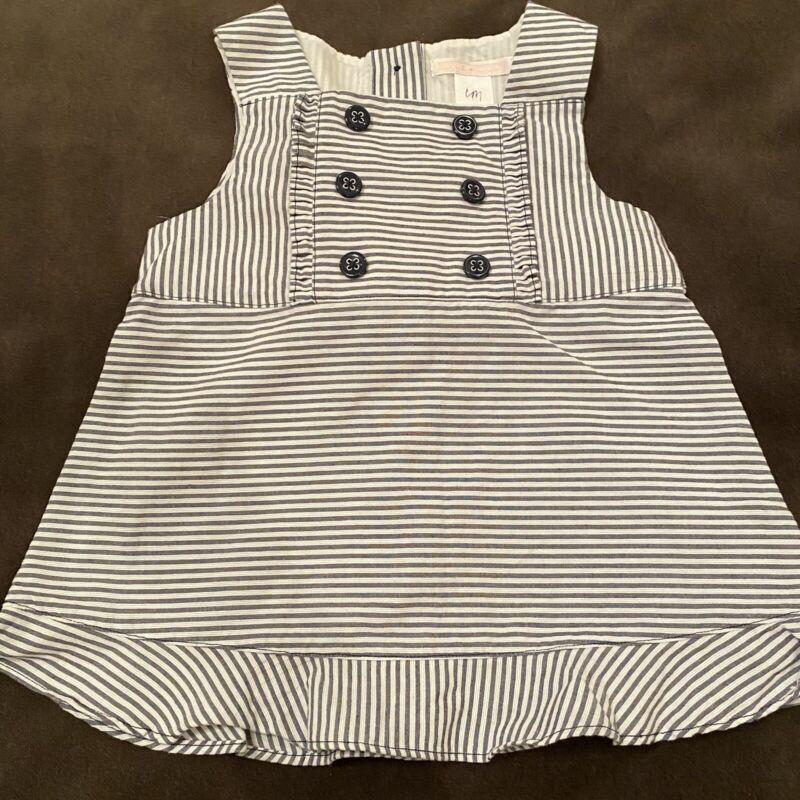 Janie And Jack Sun Dress Gray Stripe Cotton Sleeveless Size 3 EUC