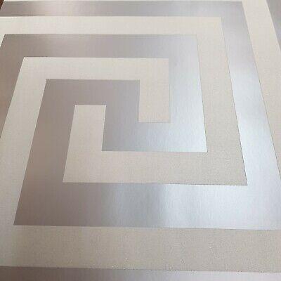 Debona Athena Pearl White Metallic Glitter Greek Key Wallpaper Slight Imperfect