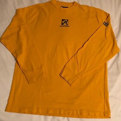 Abercrombie & Fitch T-Shirt Yellow Cotton Graphic Long Sleeve Men's L