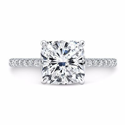 1.10 ct. Cushion Cut Natural Diamond U-Pave Engagement Ring GIA E, VS2 14k White 2