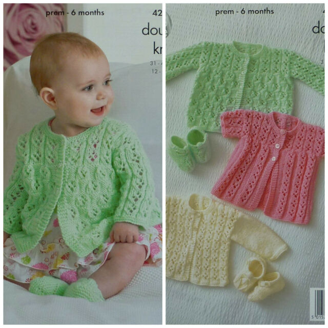 KNITTING PATTERN Baby Lacy Matinee Cardigans & Shoes DK King Cole 4214