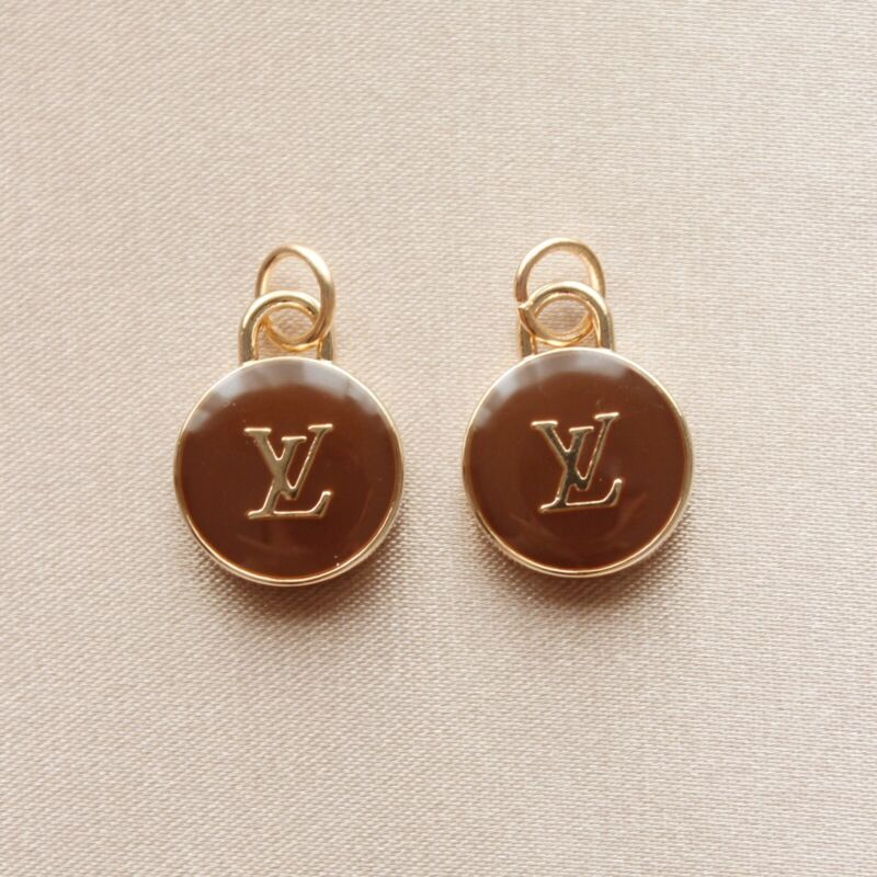 Set of 2 Louis Vuitton LV Zipper Pulls, 15mm, Brown, Gold, Double Sided, Round