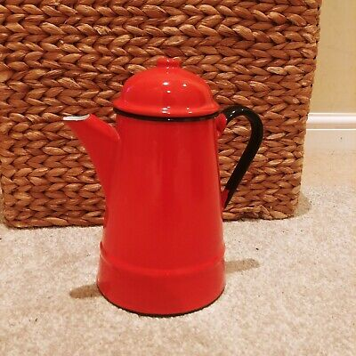 Vintage red Enamel Kettle - Teapot Made In Poland - Size 12