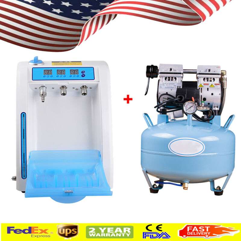 US Dental Noiseless Oilless Air Compressor + Handpiece Oil Maintenance Lubricant